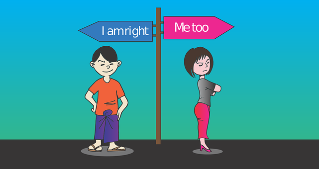 "two peoplw either side of a signpost. One side reads ""I'm right"", the other side reads ""So am I""."