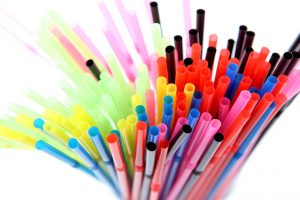 coloured plastic straws.