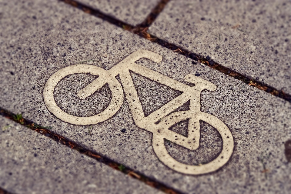 image of a painted cycle on a road.