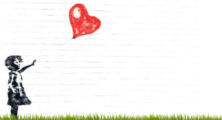 sihouette of a female child holding out hand towards a red heart balloon